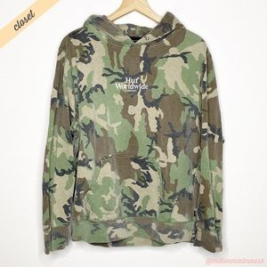 [HUF] Green Camo Embroidered Rose Snake Hoodie